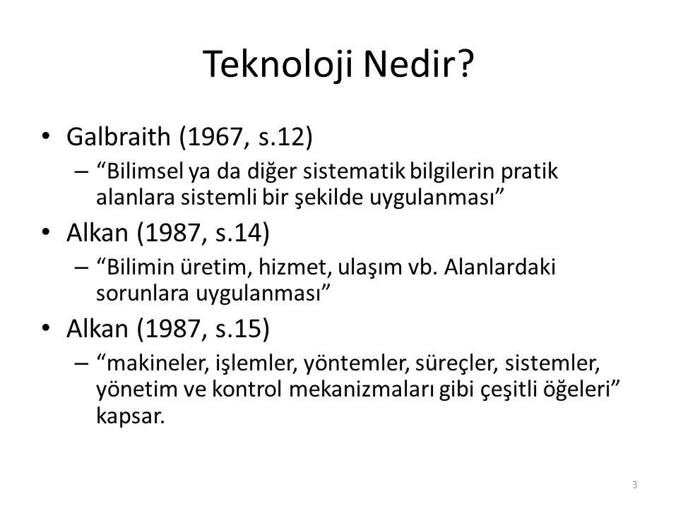 Teknoloji Nedir Galbraith (1967, s.12) Alkan (1987, s.14)