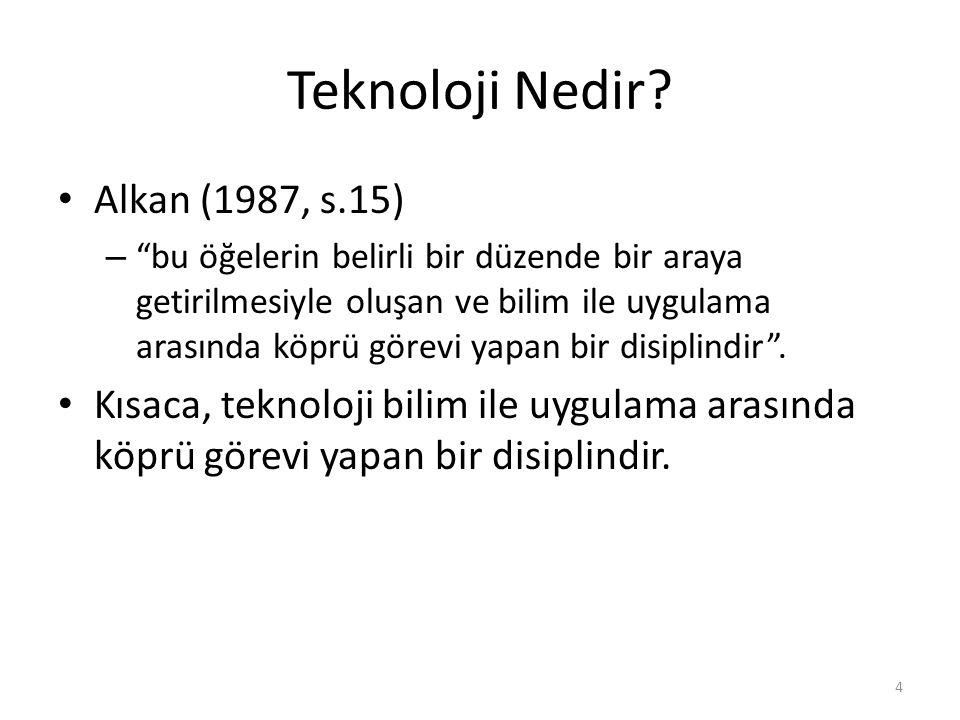 Teknoloji Nedir Alkan (1987, s.15)