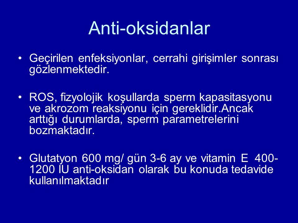 Anti-oksidanlar Geçirilen enfeksiyonlar, cerrahi girişimler sonrası gözlenmektedir.