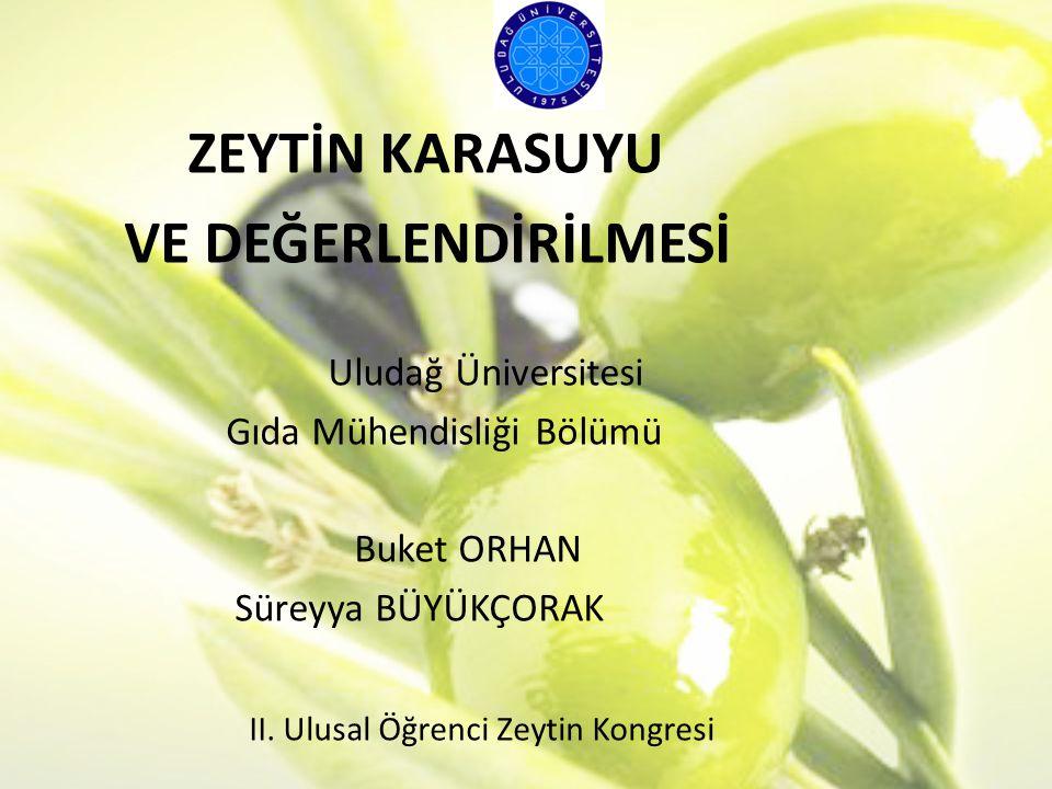 ZEYTİN KARASUYU VE DEĞERLENDİRİLMESİ Uludağ Üniversitesi