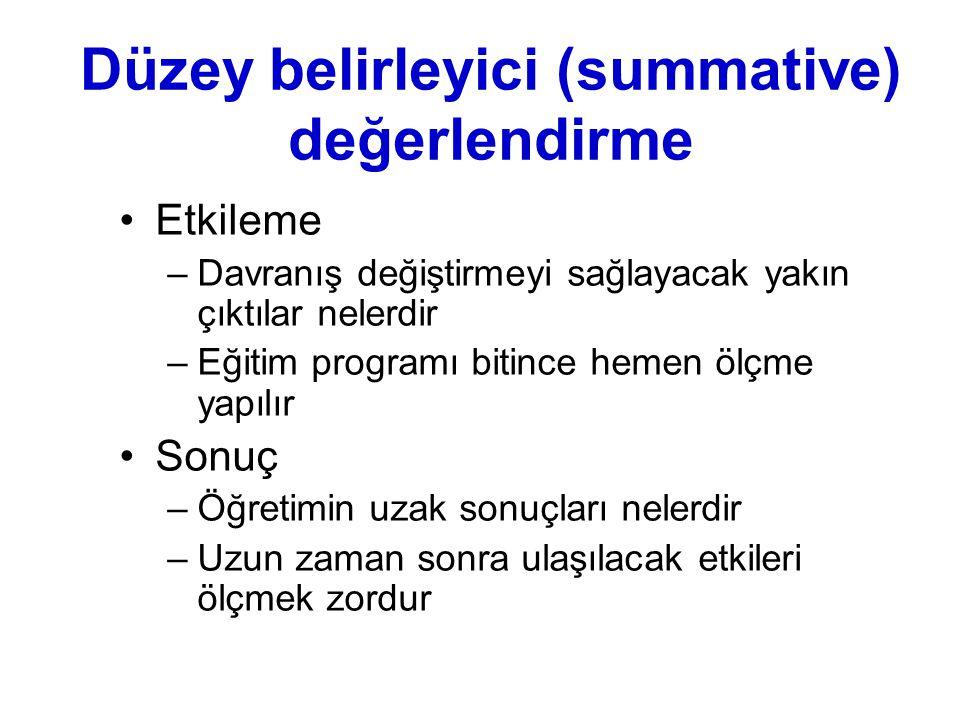 Düzey belirleyici (summative) değerlendirme