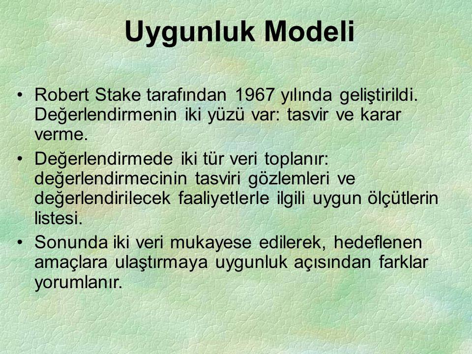 Uygunluk Modeli Robert Stake tarafından 1967 yılında geliştirildi. Değerlendirmenin iki yüzü var: tasvir ve karar verme.