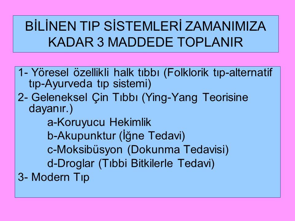 BİLİNEN TIP SİSTEMLERİ ZAMANIMIZA KADAR 3 MADDEDE TOPLANIR