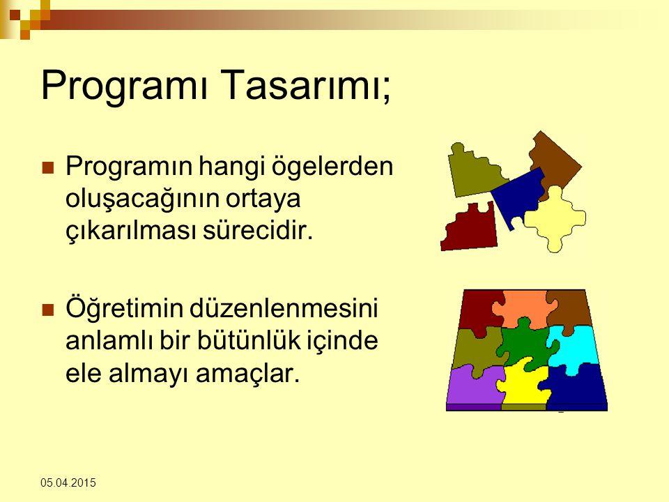 Programı Tasarımı; Programın hangi ögelerden oluşacağının ortaya çıkarılması sürecidir.