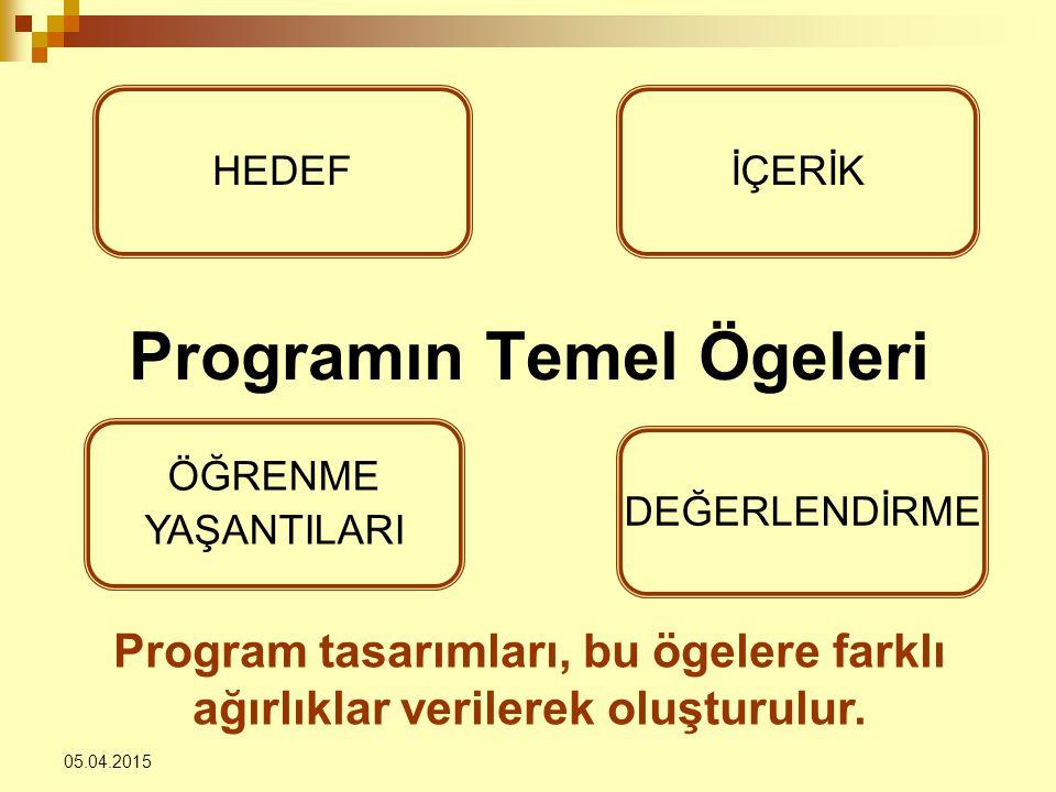 Programın Temel Ögeleri