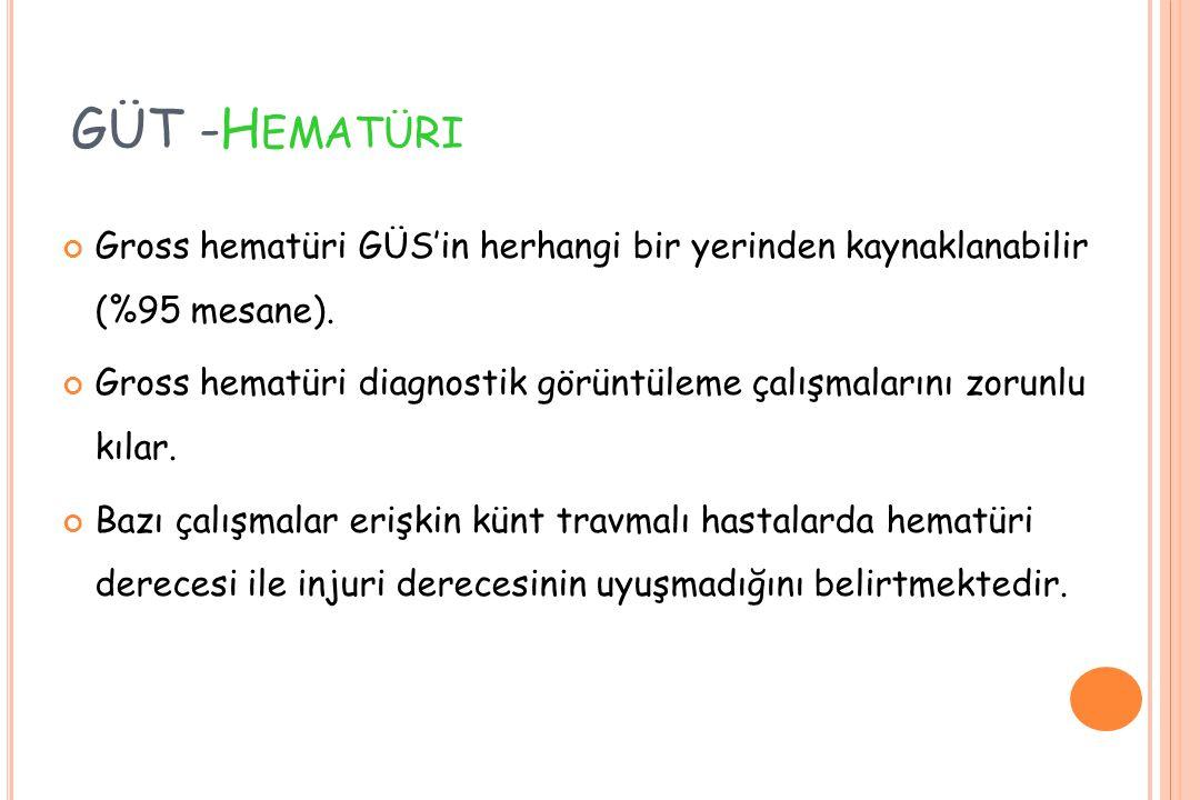 GÜT -Hematüri Gross hematüri GÜS'in herhangi bir yerinden kaynaklanabilir (%95 mesane).