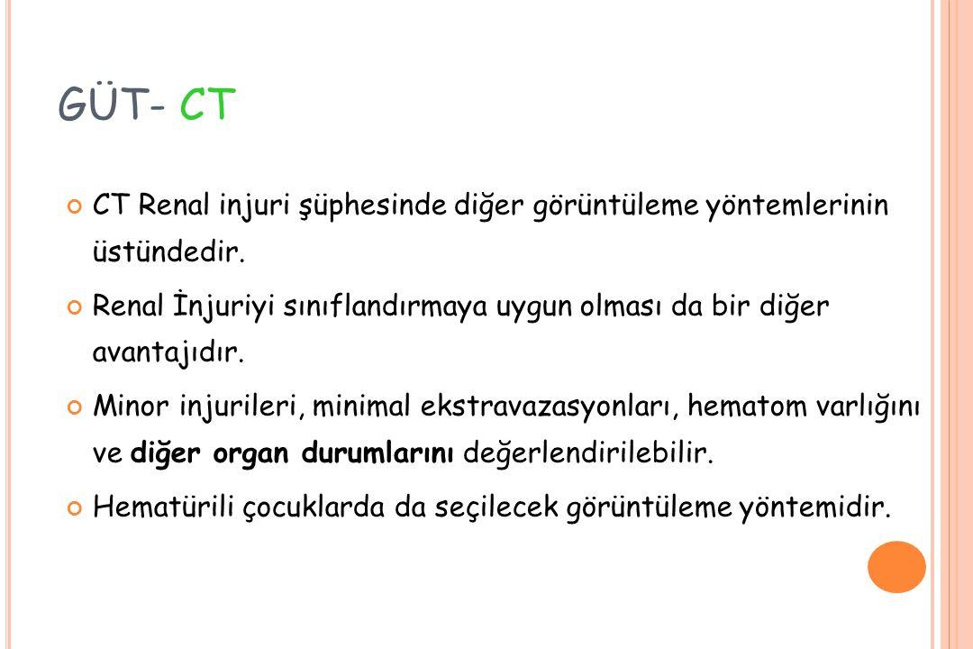 GÜT- CT CT Renal injuri şüphesinde diğer görüntüleme yöntemlerinin üstündedir.