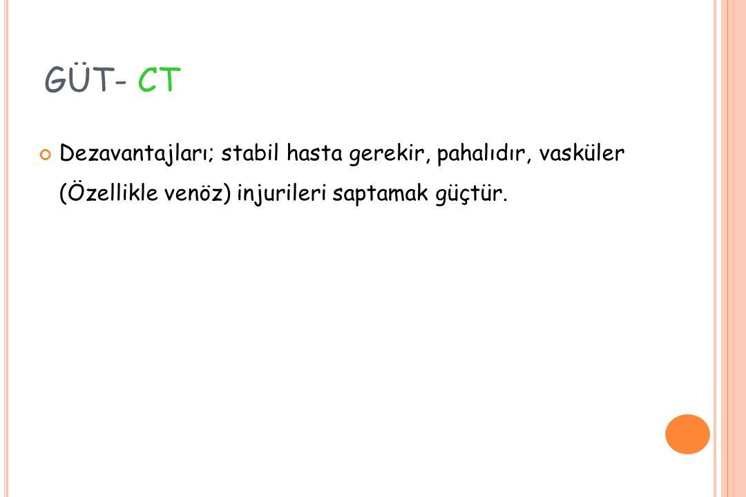 GÜT- CT Dezavantajları; stabil hasta gerekir, pahalıdır, vasküler (Özellikle venöz) injurileri saptamak güçtür.
