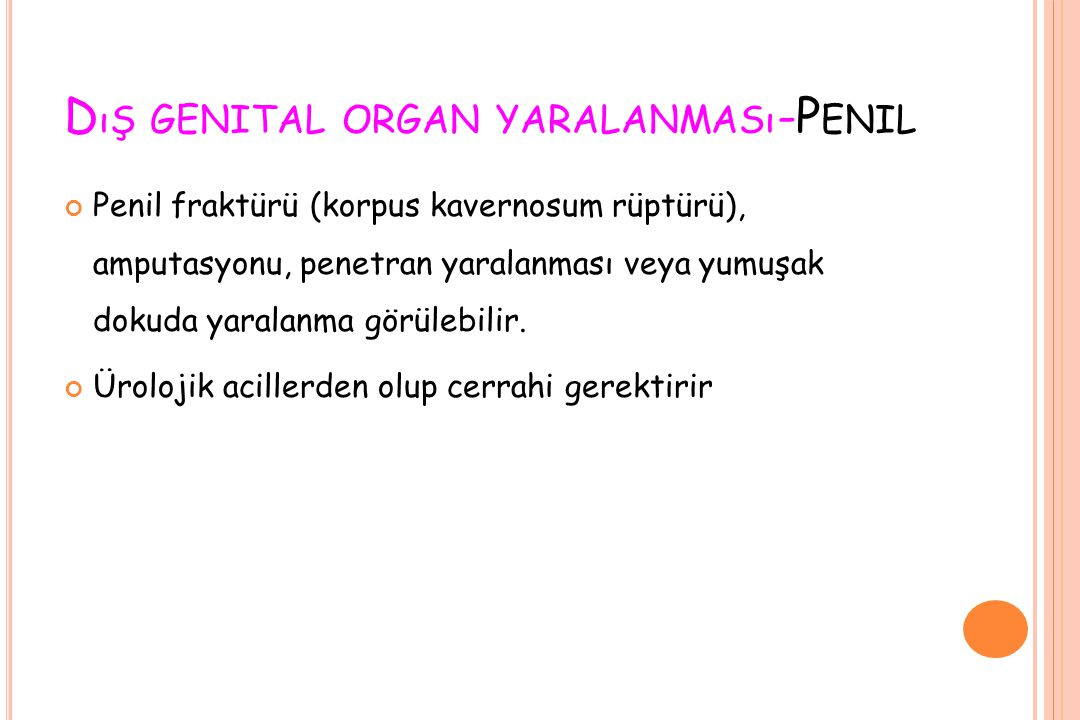 Dış genital organ yaralanması-Penil