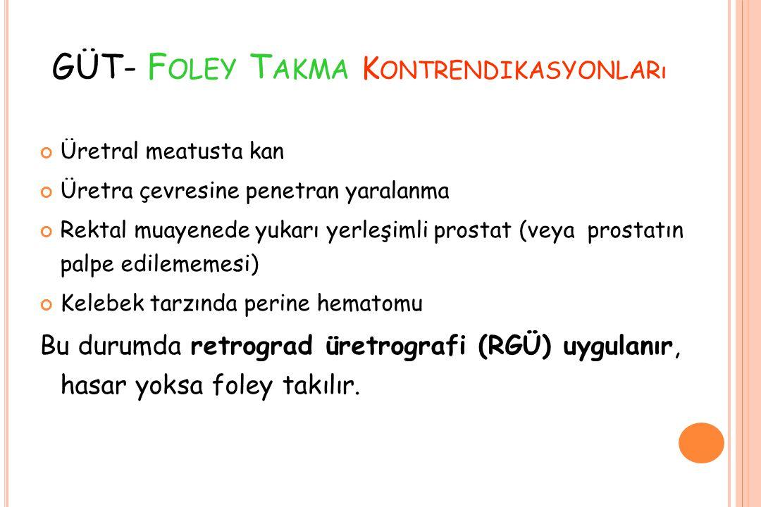 GÜT- Foley Takma Kontrendikasyonları