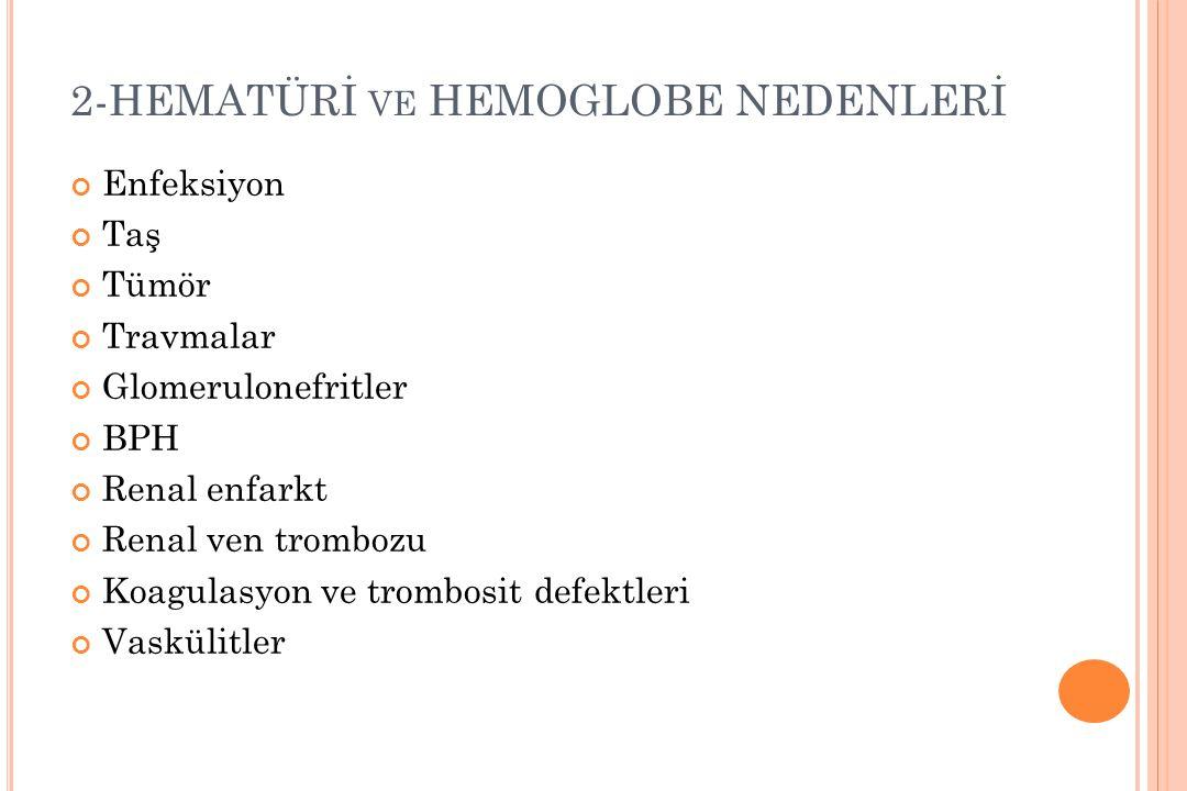 2-HEMATÜRİ ve HEMOGLOBE NEDENLERİ