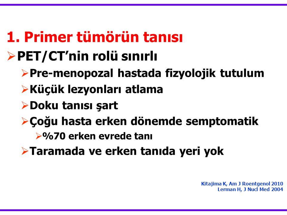 1. Primer tümörün tanısı PET/CT'nin rolü sınırlı