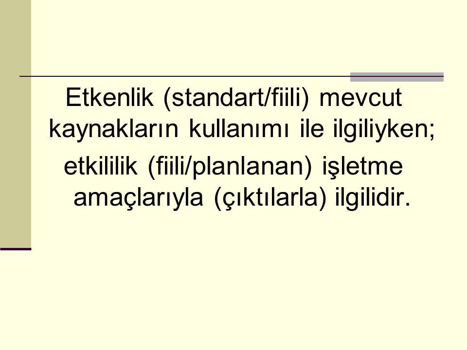 Etkenlik (standart/fiili) mevcut kaynakların kullanımı ile ilgiliyken;