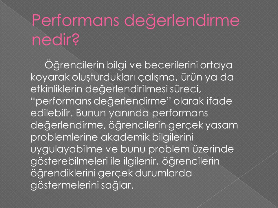 Performans değerlendirme nedir