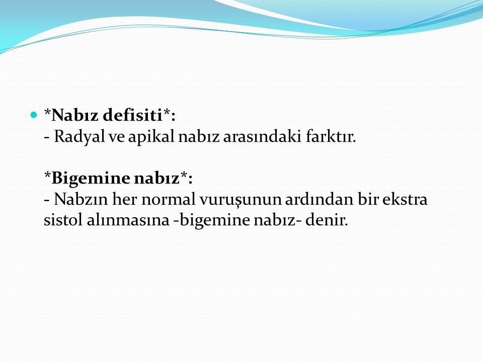 Nabız defisiti. : - Radyal ve apikal nabız arasındaki farktır