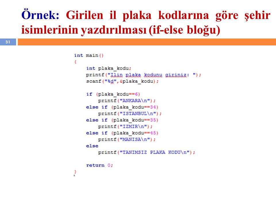 Örnek: Girilen il plaka kodlarına göre şehir isimlerinin yazdırılması (if-else bloğu)