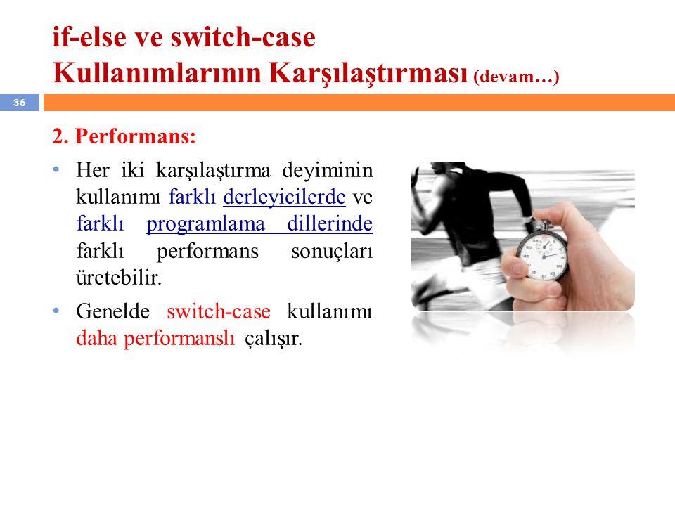 if-else ve switch-case Kullanımlarının Karşılaştırması (devam…)