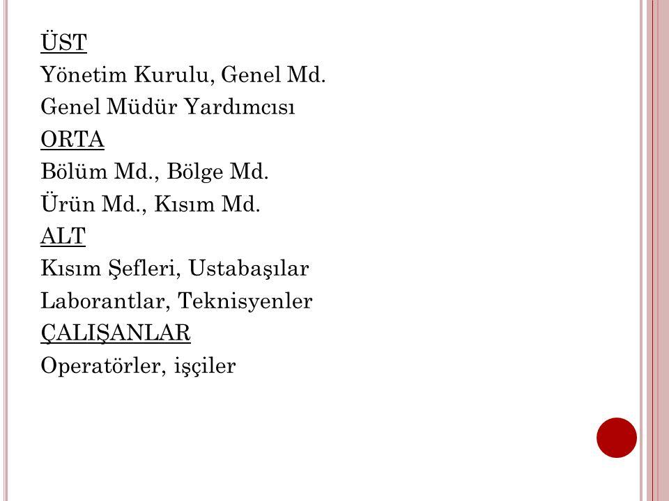 ÜST Yönetim Kurulu, Genel Md. Genel Müdür Yardımcısı ORTA Bölüm Md