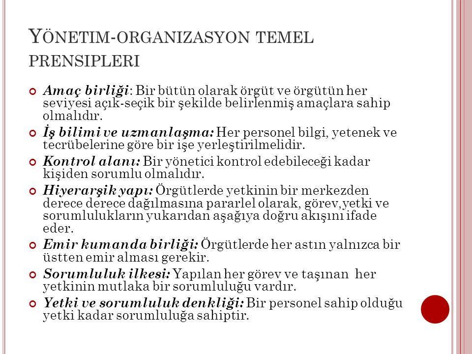 Yönetim-organizasyon temel prensipleri