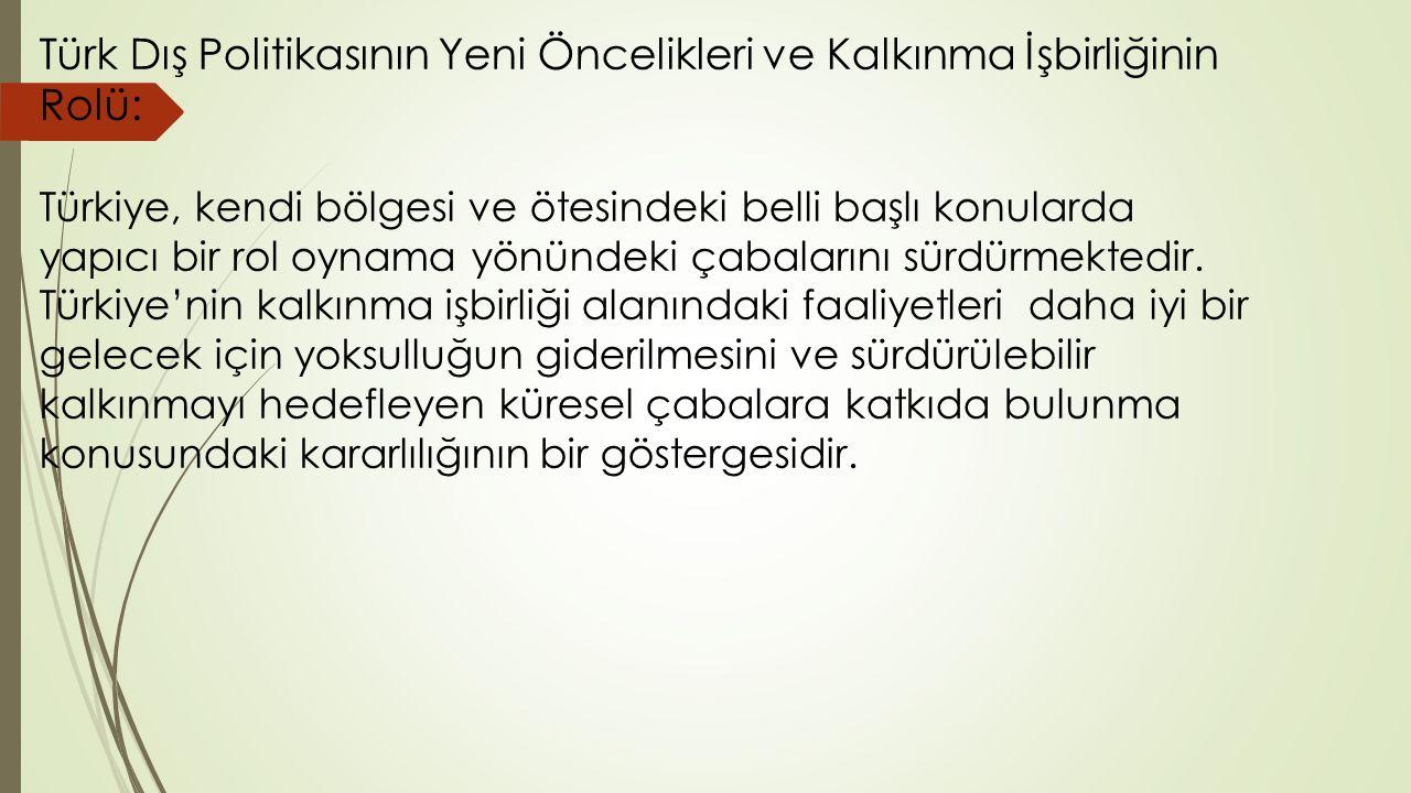 Türk Dış Politikasının Yeni Öncelikleri ve Kalkınma İşbirliğinin Rolü: Türkiye, kendi bölgesi ve ötesindeki belli başlı konularda yapıcı bir rol oynama yönündeki çabalarını sürdürmektedir.