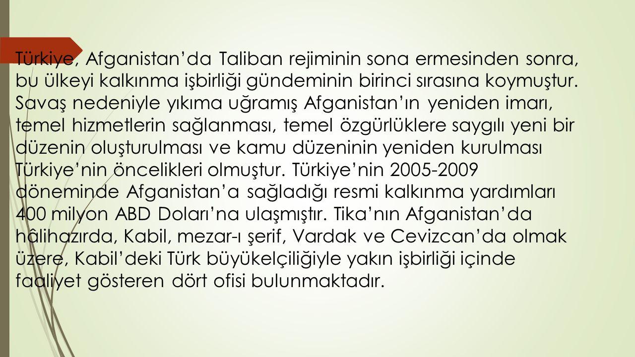 Türkiye, Afganistan'da Taliban rejiminin sona ermesinden sonra, bu ülkeyi kalkınma işbirliği gündeminin birinci sırasına koymuştur.