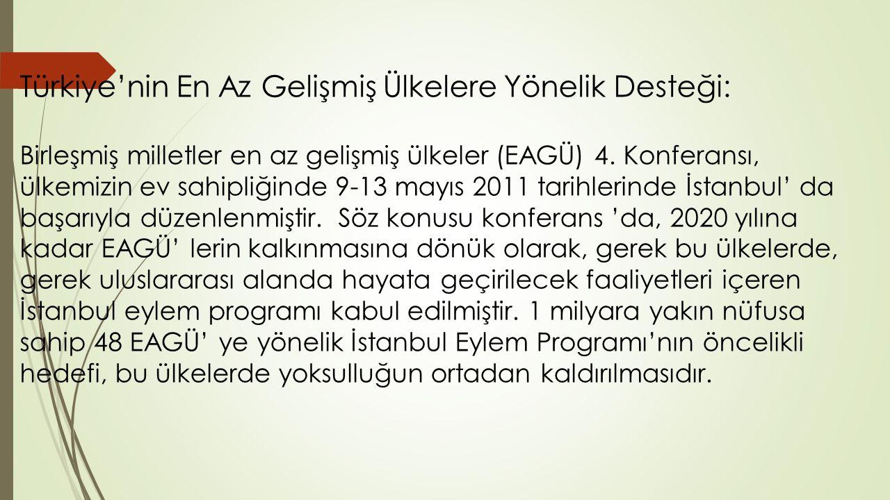 Türkiye'nin En Az Gelişmiş Ülkelere Yönelik Desteği: Birleşmiş milletler en az gelişmiş ülkeler (EAGÜ) 4.