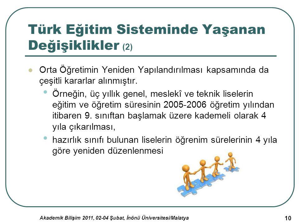 Türk Eğitim Sisteminde Yaşanan Değişiklikler (2)