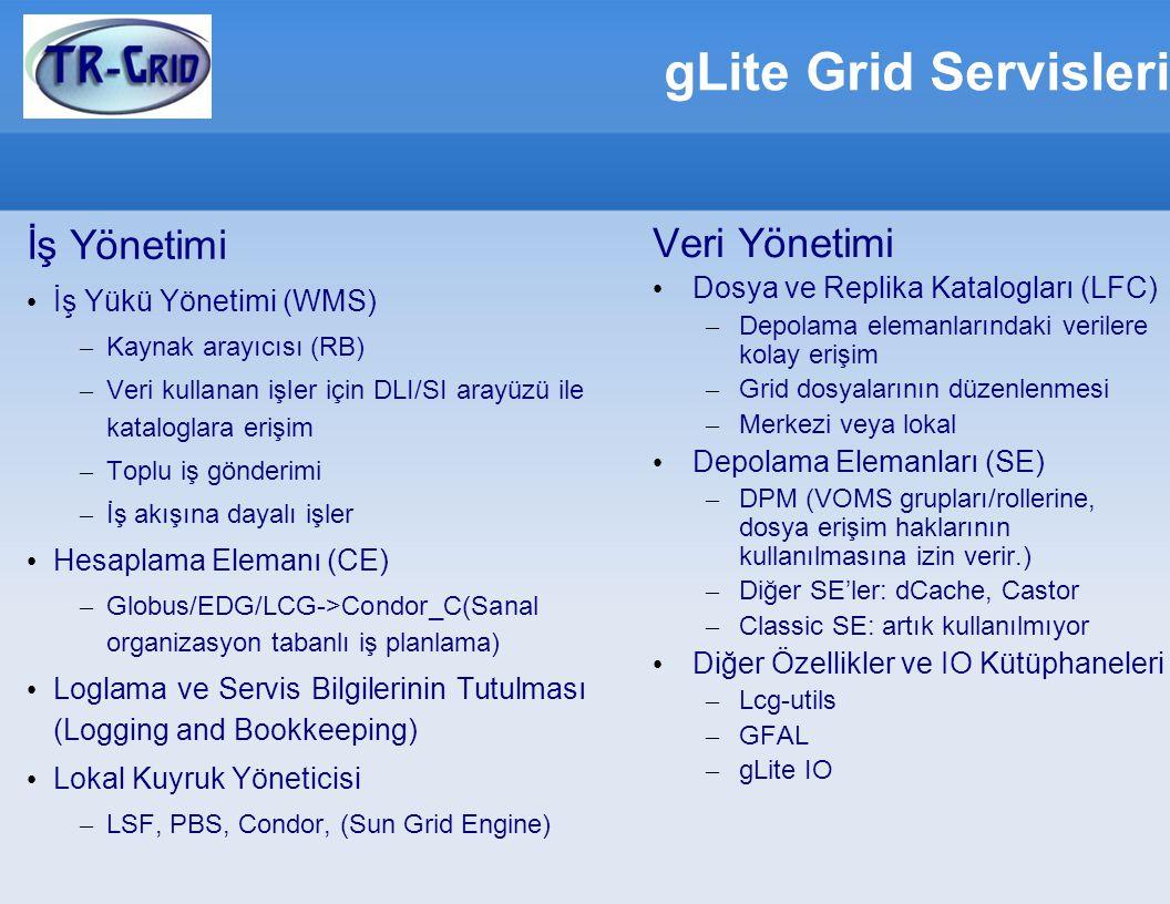 gLite Grid Servisleri Veri Yönetimi İş Yönetimi