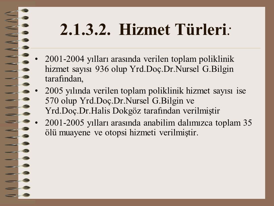 2.1.3.2. Hizmet Türleri: 2001-2004 yılları arasında verilen toplam poliklinik hizmet sayısı 936 olup Yrd.Doç.Dr.Nursel G.Bilgin tarafından,