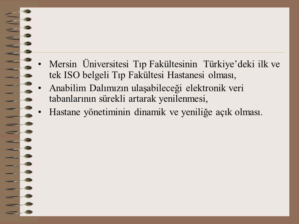 Mersin Üniversitesi Tıp Fakültesinin Türkiye'deki ilk ve tek ISO belgeli Tıp Fakültesi Hastanesi olması,