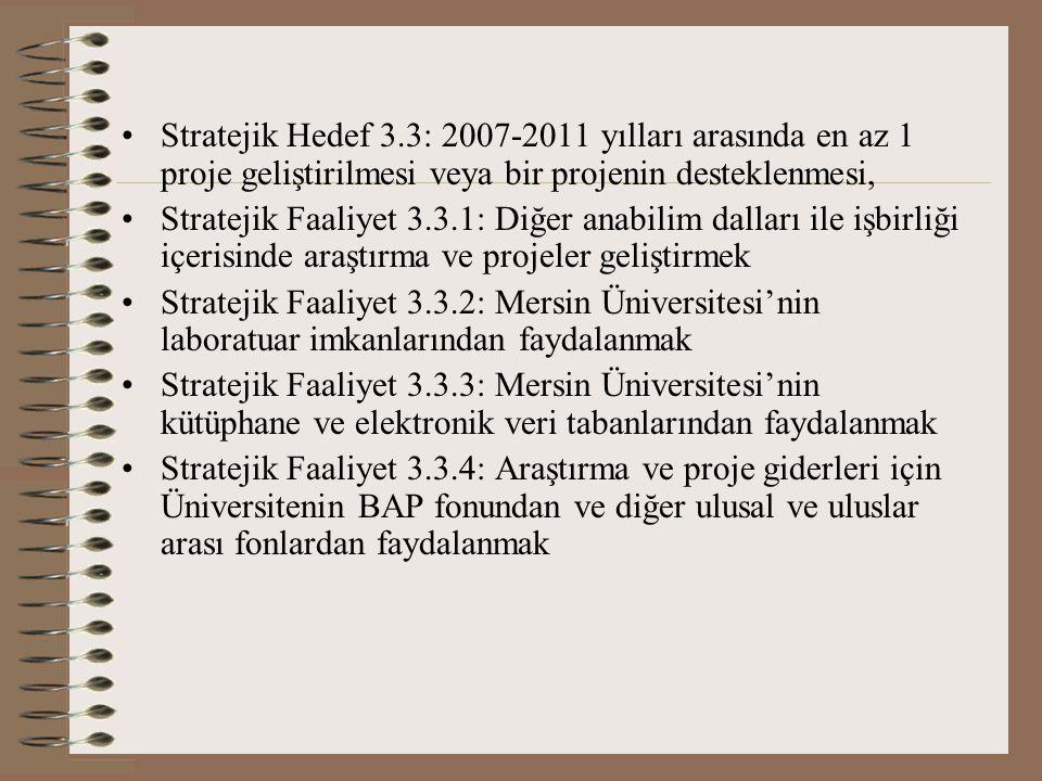 Stratejik Hedef 3.3: 2007-2011 yılları arasında en az 1 proje geliştirilmesi veya bir projenin desteklenmesi,