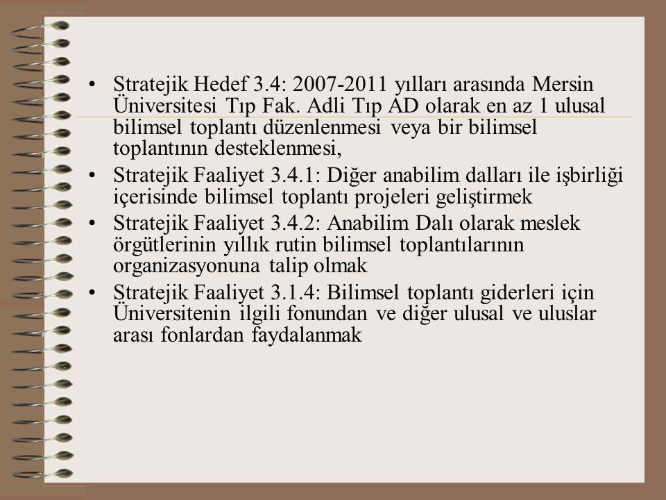 Stratejik Hedef 3.4: 2007-2011 yılları arasında Mersin Üniversitesi Tıp Fak. Adli Tıp AD olarak en az 1 ulusal bilimsel toplantı düzenlenmesi veya bir bilimsel toplantının desteklenmesi,