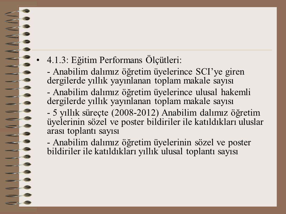 4.1.3: Eğitim Performans Ölçütleri: