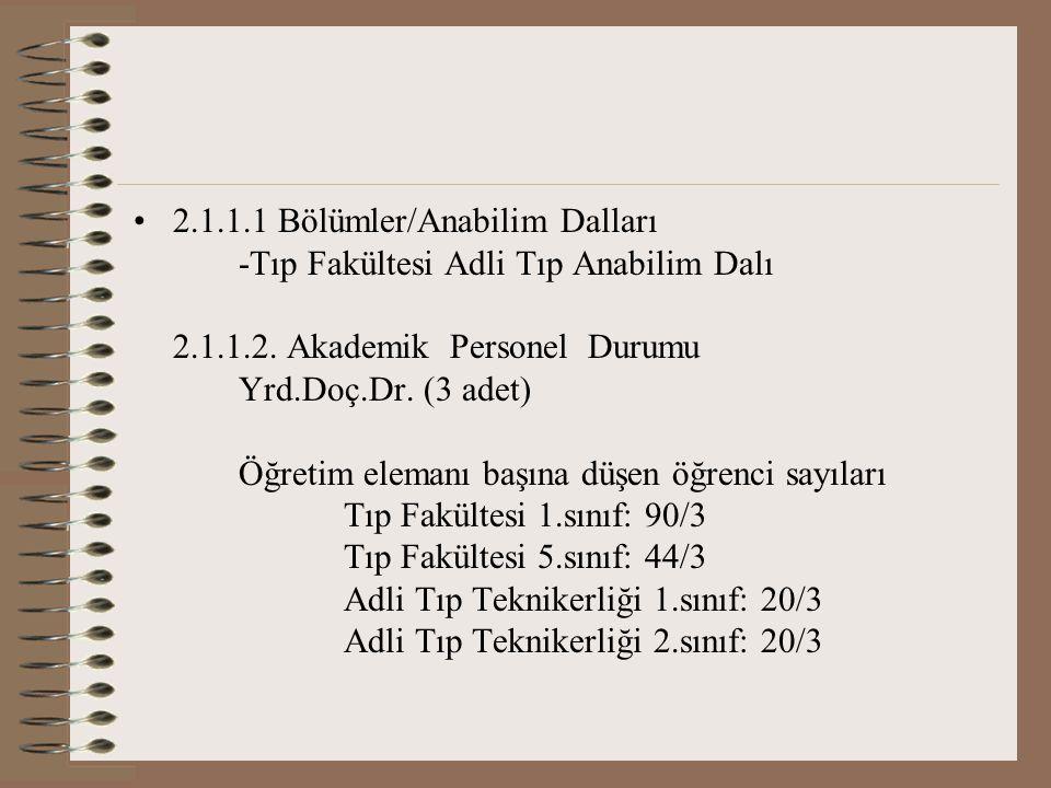 2.1.1.1 Bölümler/Anabilim Dalları