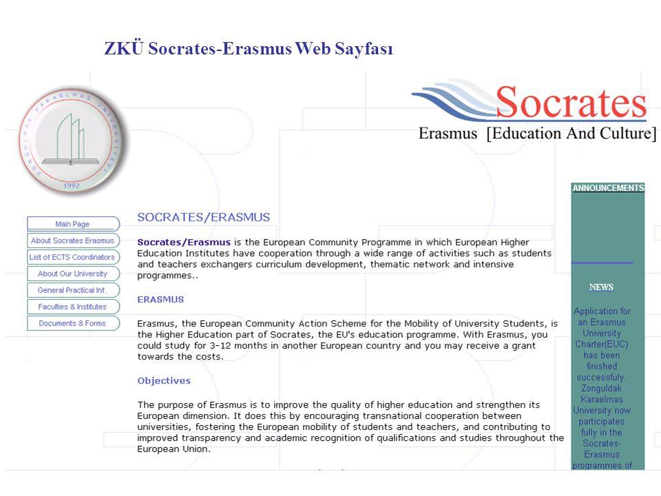 ZKÜ Socrates-Erasmus Web Sayfası