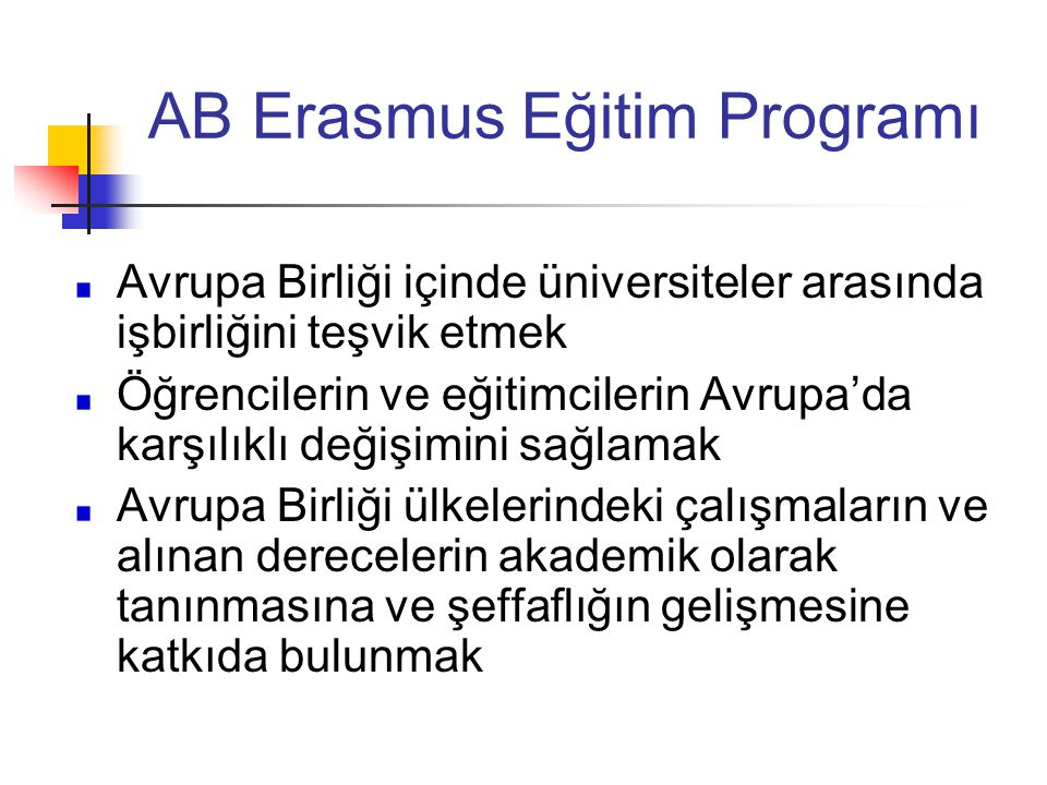 AB Erasmus Eğitim Programı