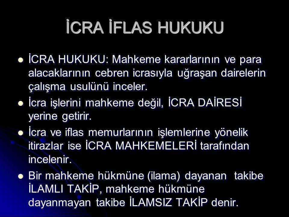 İCRA İFLAS HUKUKU İCRA HUKUKU: Mahkeme kararlarının ve para alacaklarının cebren icrasıyla uğraşan dairelerin çalışma usulünü inceler.