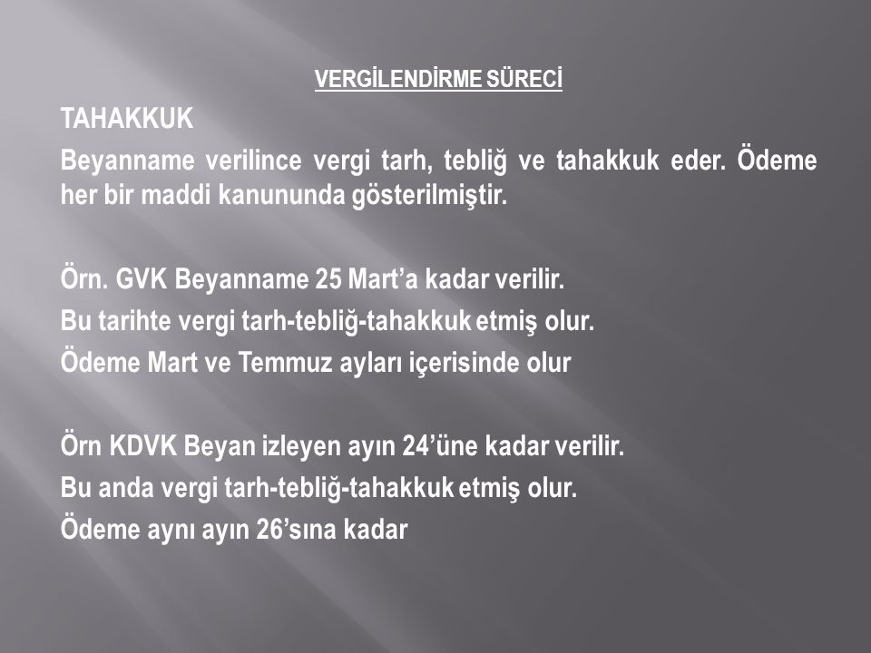 Örn. GVK Beyanname 25 Mart'a kadar verilir.