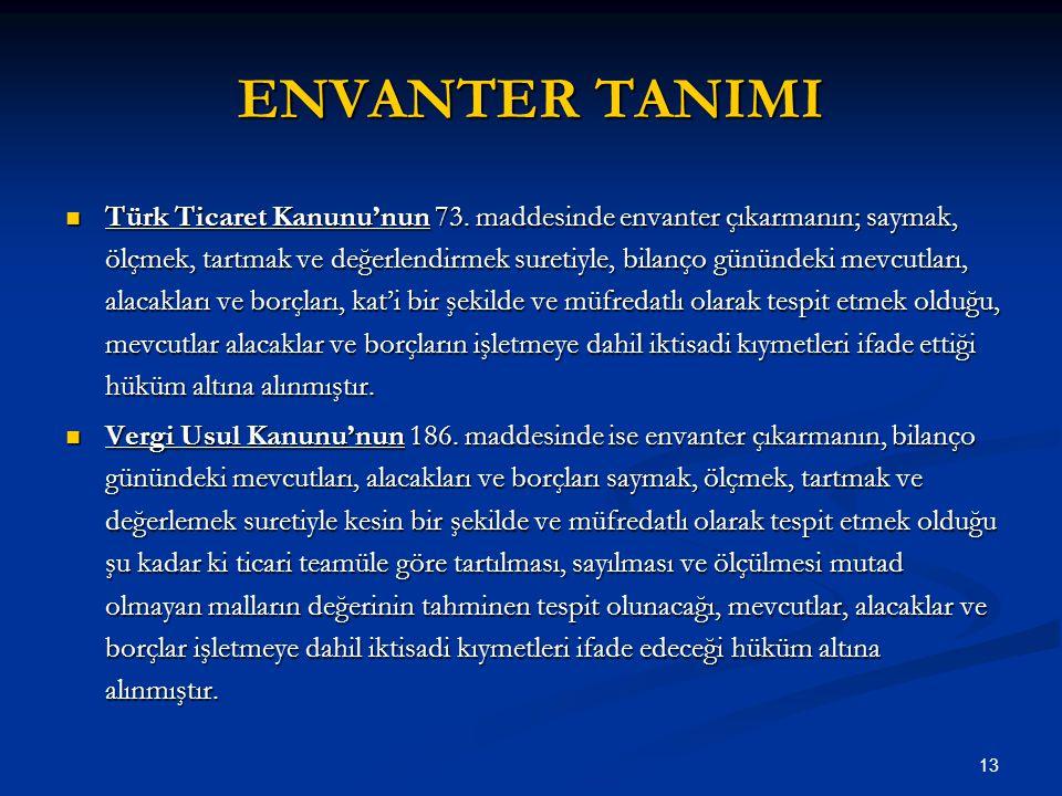 ENVANTER TANIMI