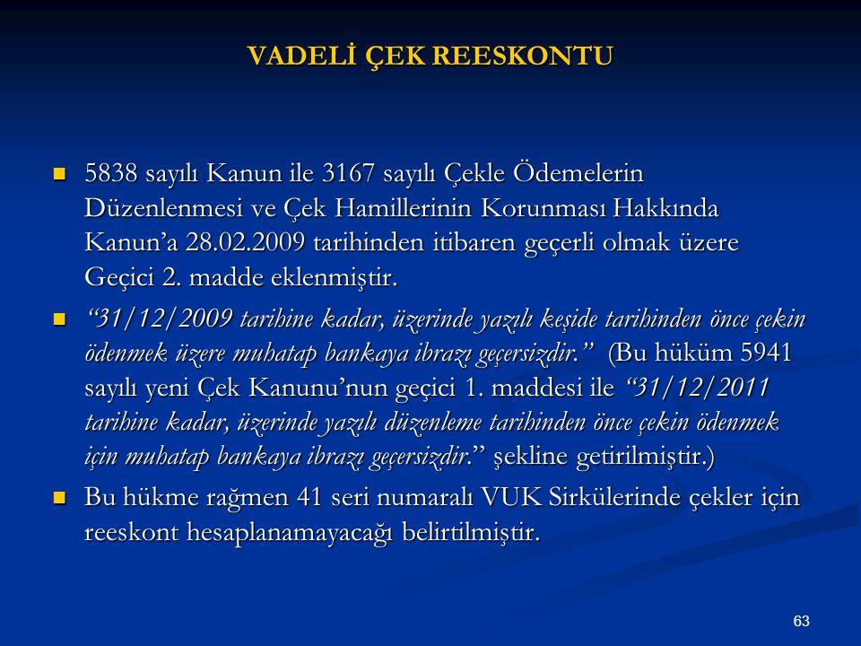 VADELİ ÇEK REESKONTU