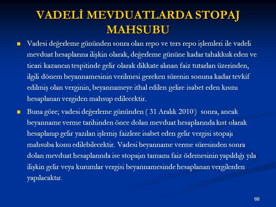 VADELİ MEVDUATLARDA STOPAJ MAHSUBU