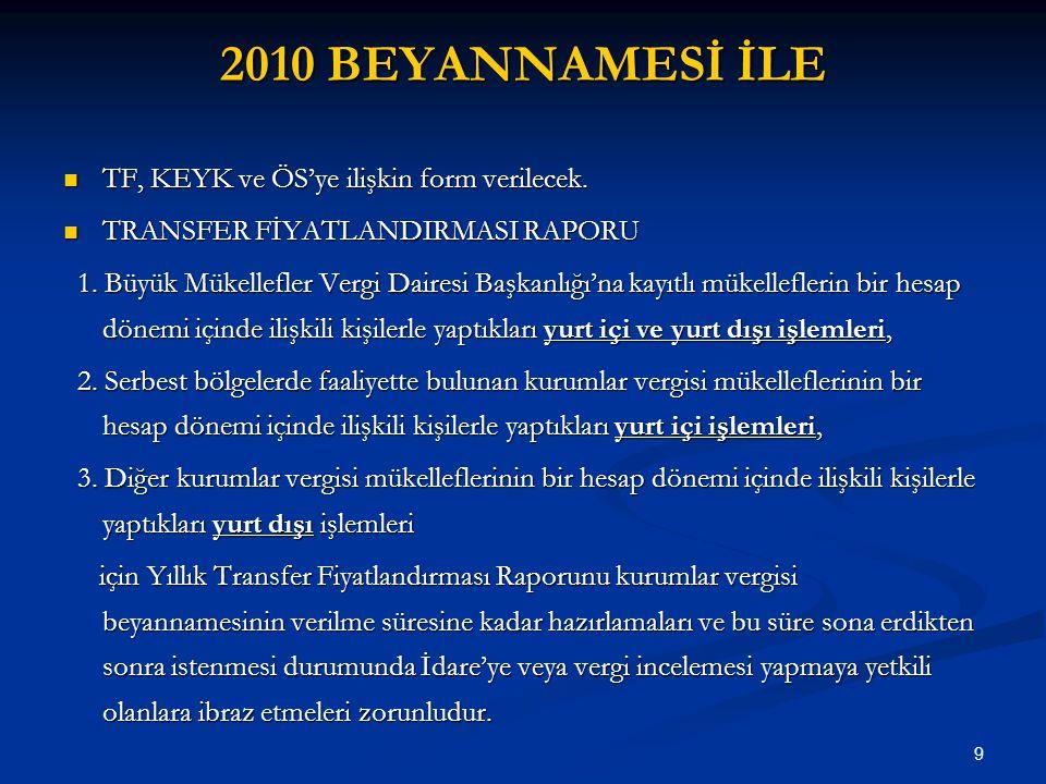 2010 BEYANNAMESİ İLE TF, KEYK ve ÖS'ye ilişkin form verilecek.