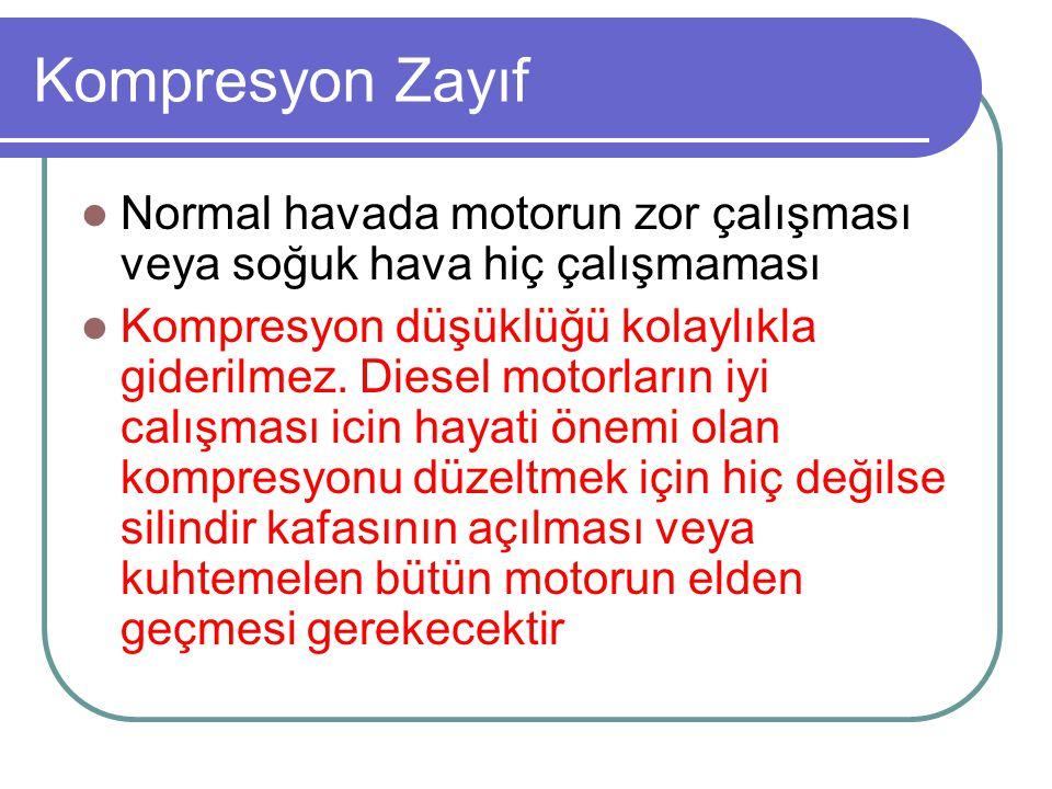 Kompresyon Zayıf Normal havada motorun zor çalışması veya soğuk hava hiç çalışmaması.