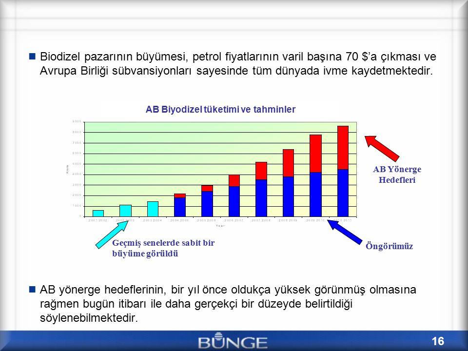 AB Biyodizel tüketimi ve tahminler
