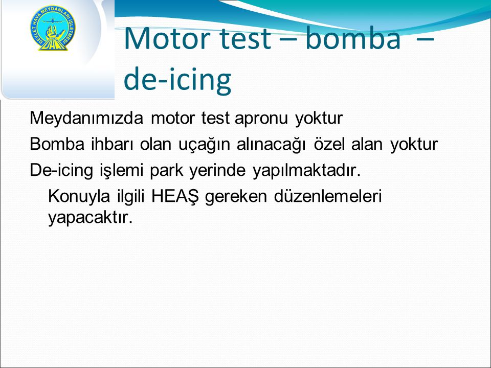 Motor test – bomba – de-icing