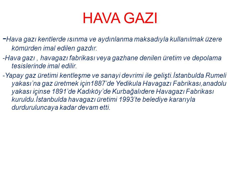 HAVA GAZI -Hava gazı kentlerde ısınma ve aydınlanma maksadıyla kullanılmak üzere kömürden imal edilen gazdır.