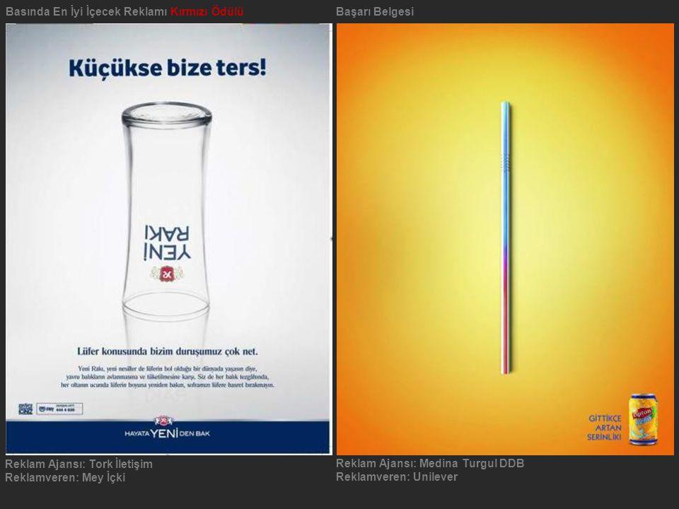 Basında En İyi İçecek Reklamı Kırmızı Ödülü Başarı Belgesi
