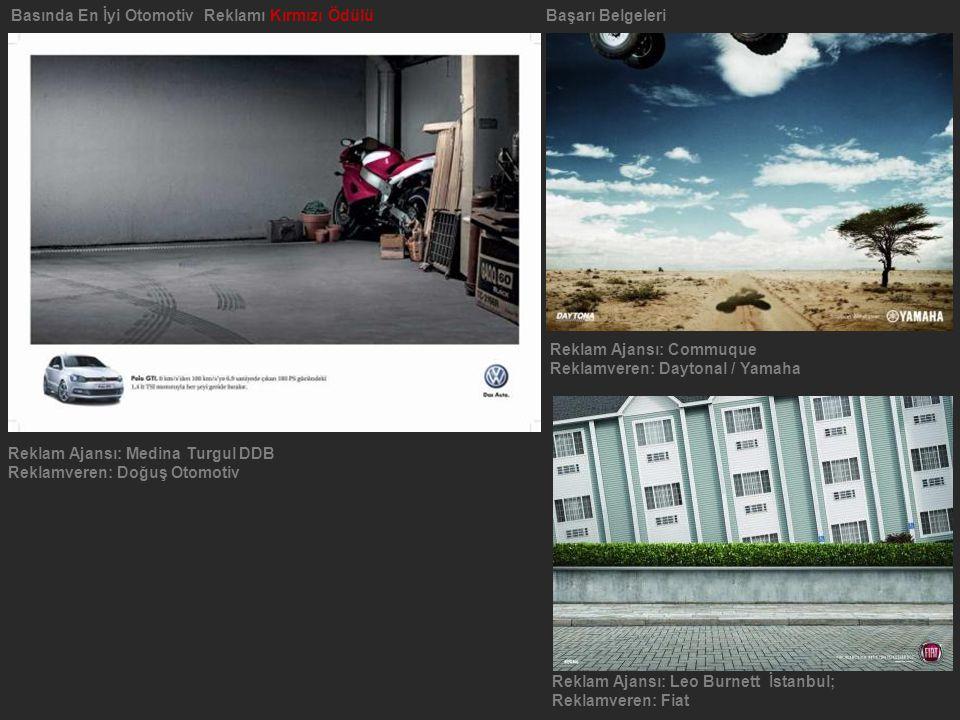 Basında En İyi Otomotiv Reklamı Kırmızı Ödülü Başarı Belgeleri