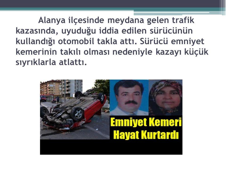 Alanya ilçesinde meydana gelen trafik kazasında, uyuduğu iddia edilen sürücünün kullandığı otomobil takla attı.