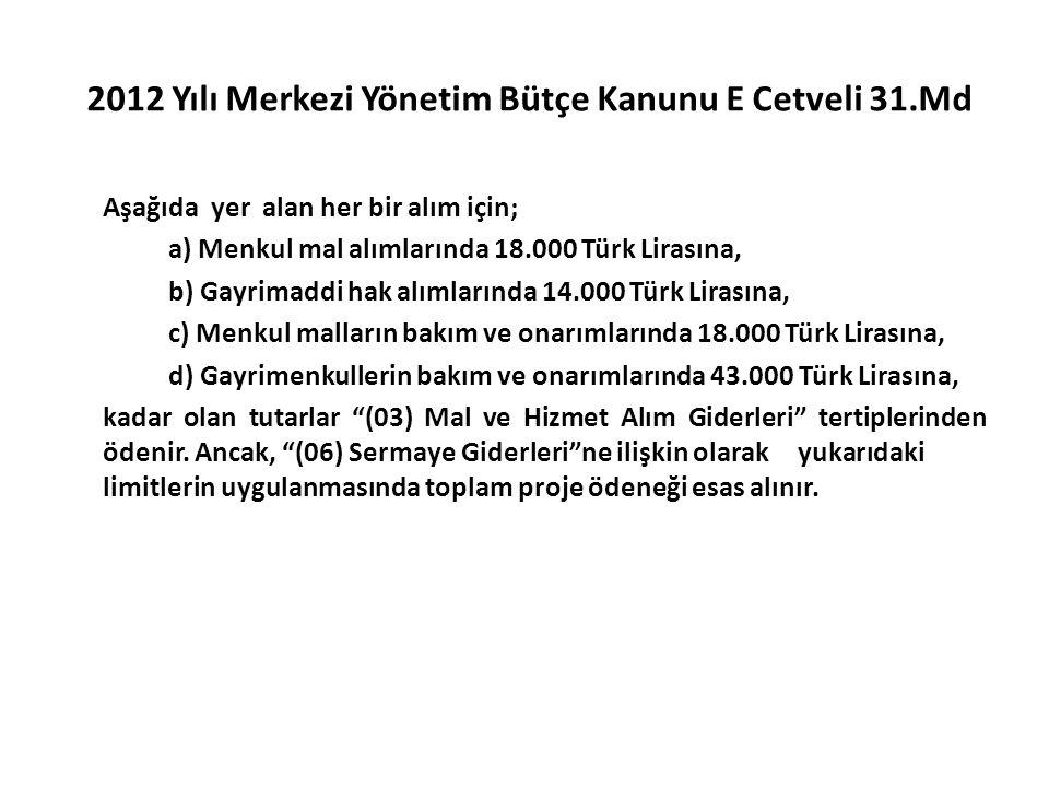 2012 Yılı Merkezi Yönetim Bütçe Kanunu E Cetveli 31.Md